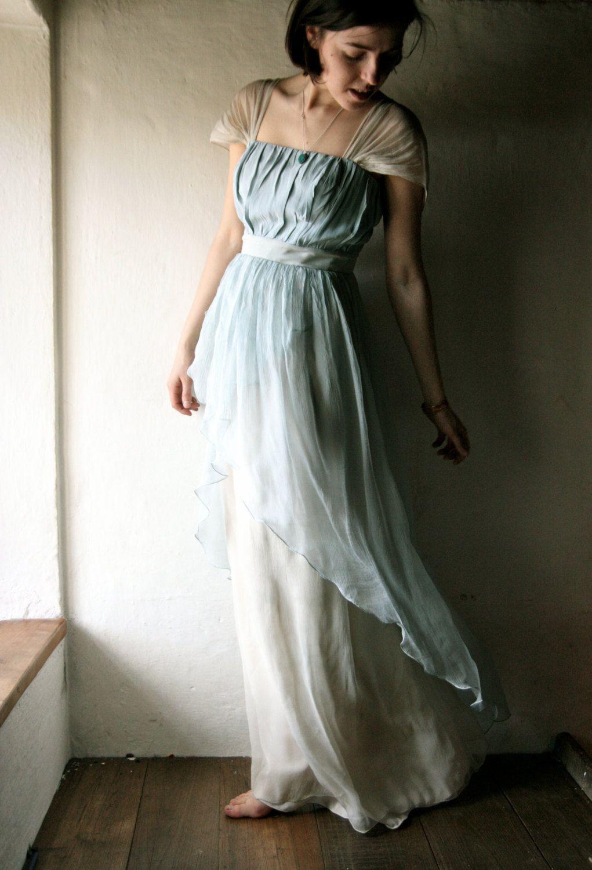 Wedding dress in light blue naturally dyed silk chiffon ready to