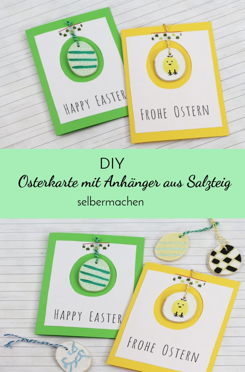 Osterkarte mit Anhänger aus Salzteig selbst herstellen | DIY Geschenkidee für Ostern | DIY Geschenk | DIY Ostern