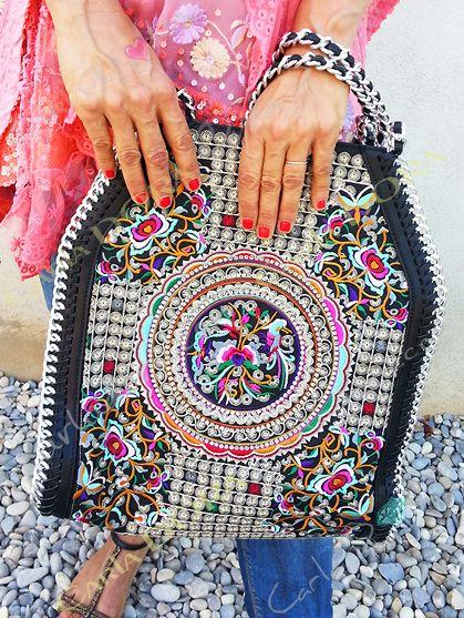 Multicolores A Ethnique Broderies Argent Main Borde Sac Chaine SqUGMpLVz