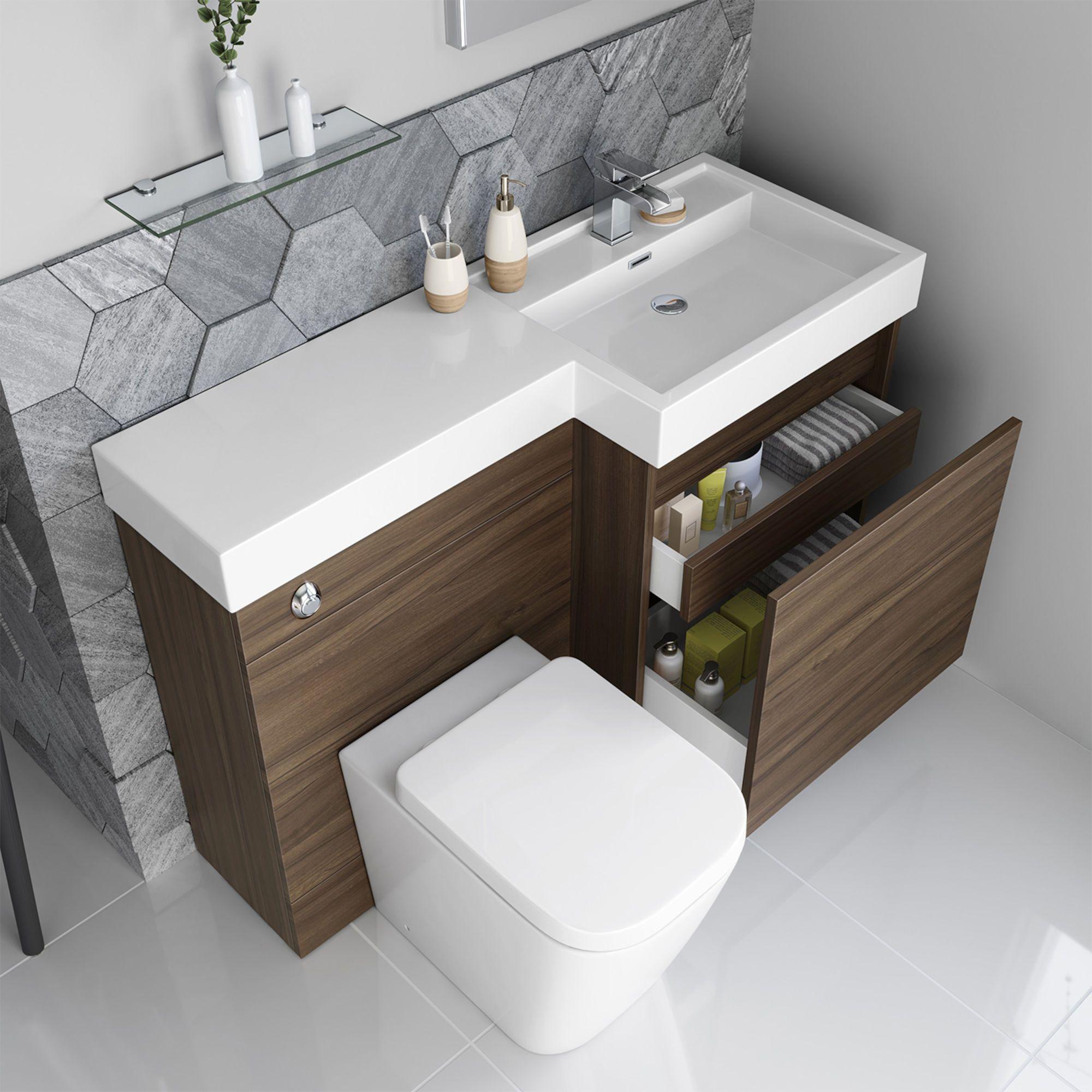 1206mm Olympia Gloss Walnut Drawer Vanity Unit Florence Pan Soak Com Bathroom Furniture Modern Small Bathroom Minimalist Bathroom Furniture