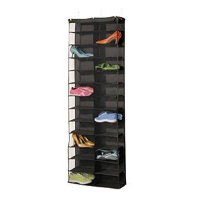 Over Door 26 Pair Shoe Holder – Black Dorm Organizer For College Supplies College Organization Supplies For Girls