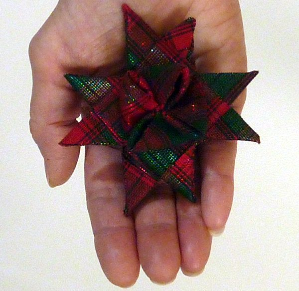 Plaid red and green with metallic threads. Hand folded fabric star Christmas ornament. Esty shop ...
