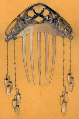 René Lalique - Hair Comb Design. France. Circa 1900.