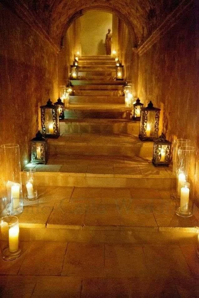Staircase Of Stone Lit With Candles And Lanterns Diy