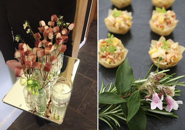 Mirror tray bud vase bouquets canapes on slate the for Canape trays uk