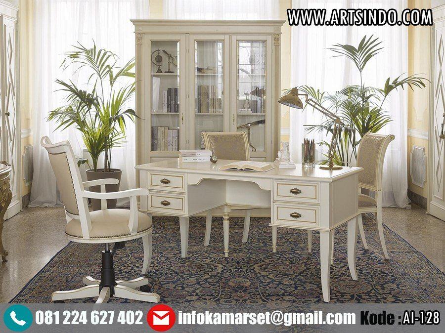 Jual Set Meja Kantor Putih Klasik Ai 128 Model Elegan Terbaru Set