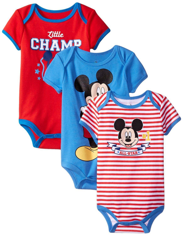 3545b9b87b830 Amazon.com: Disney Baby Boys' Mickey Mouse Bodysuits (Pack of 3 ...