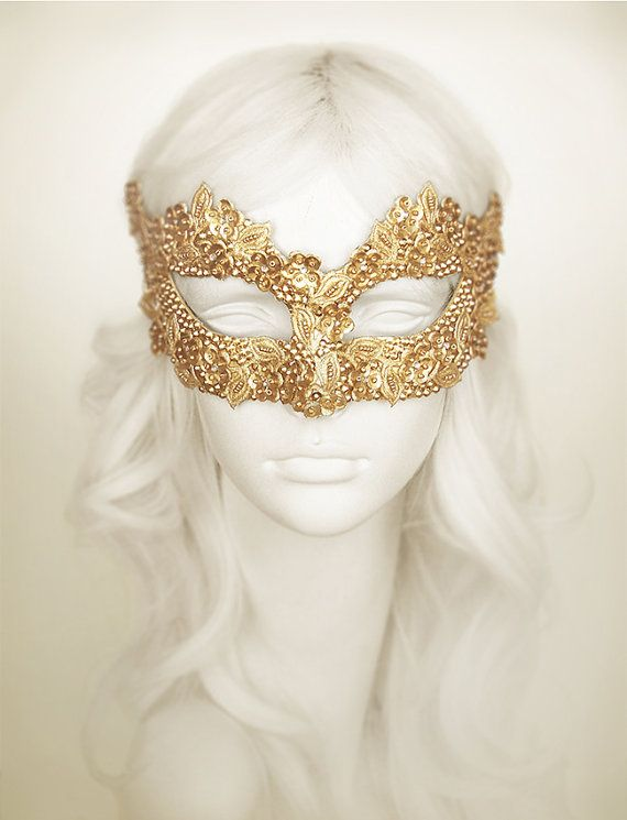 sequined gold masquerade mask with rhinestones and embroidery