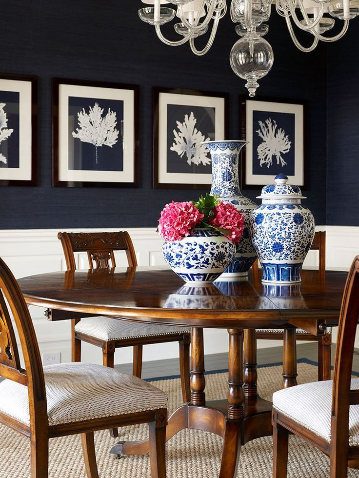 Navy Provides The Drama In This Classic And Beautiful Blue/white Dining Room  By Designer
