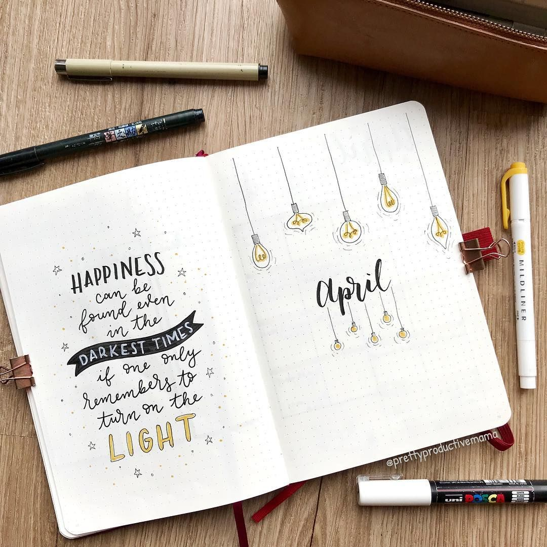 "Sandra's BuJo on Instagram: ""Happy 1st April! Lightbulb theme for this month, still keeping it simple � . Products used are tagged in the post � . . . . . . #Bujo…"""