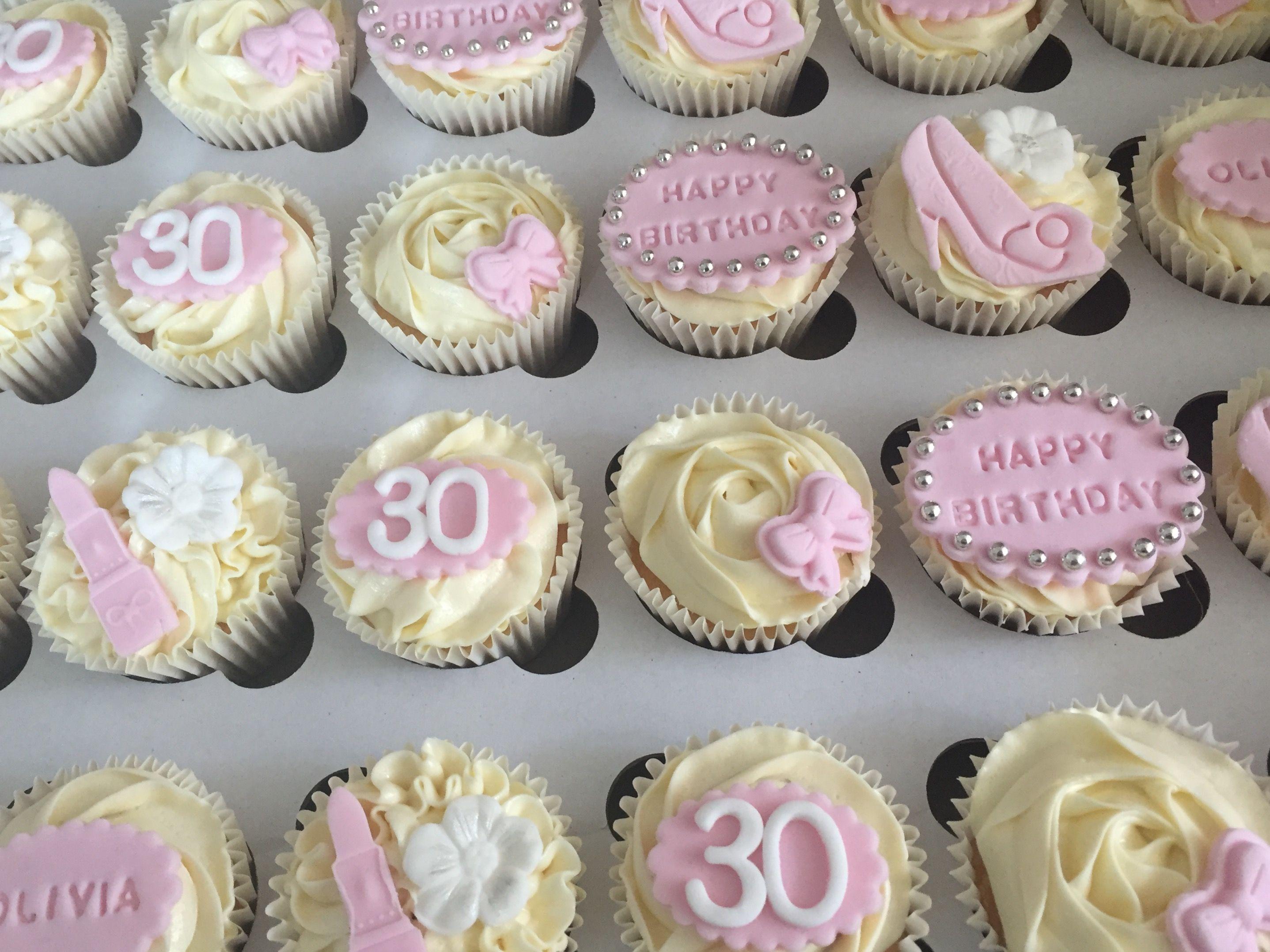 30th birthday girl girly cupcake cupcake topper flowers