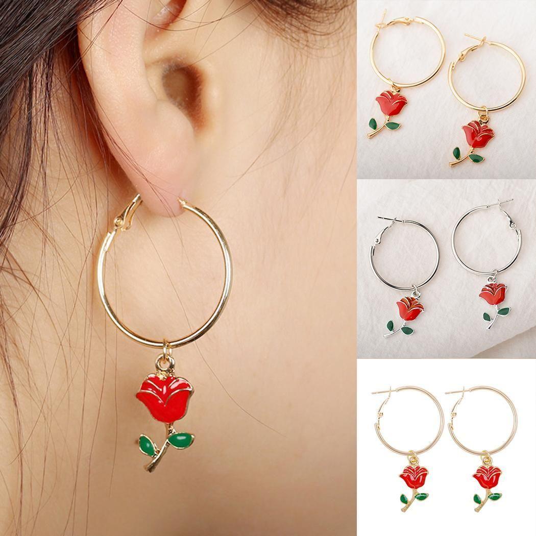 Dangle Circle Women Pendant Elegant Rose Flower Hoop Earrings Rose Earrings Birthday Gifts For Girls Hoop Earrings