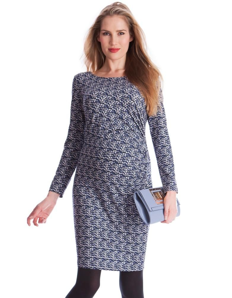 Chevron Print Maternity Dress | Seraphine -- Gorgeous maternity fashion in Serenity - one of the Pantone colors of the year 2016