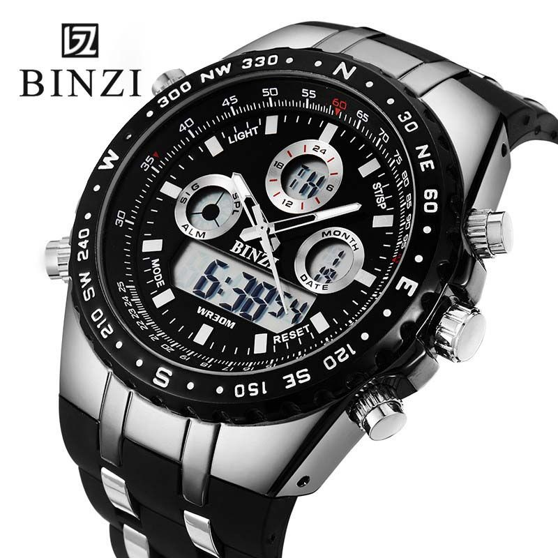 3b549722bf52 Comprar Binzi mens relojes Top marca de lujo digital deporte reloj  impermeable hombres dual display muñeca