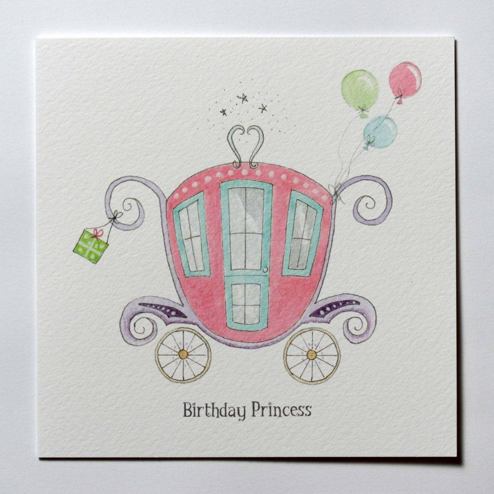 Girls Hand Drawn Princess Carriage Birthday Card Handmade Cards