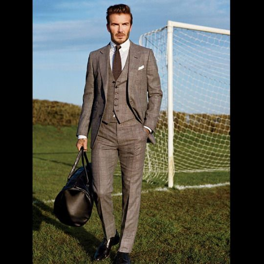 cb897701003613  davidbeckham in a TOM FORD 3-Piece O Connor Shadow Prince of Wales Suit,  shirt, knit tie, and pocket square inside the April issue of  gq.