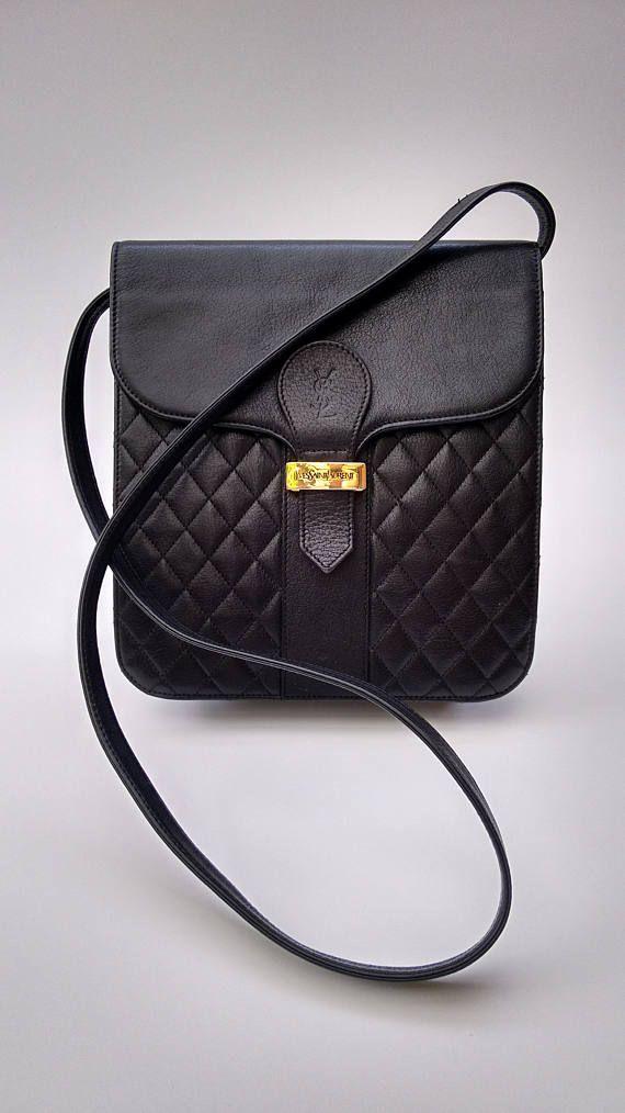 Ysl Yves Saint Laurent Vintage Black Leather Shoulder Bag Etsy Leather Shoulder Bag Yves Saint Laurent Leather