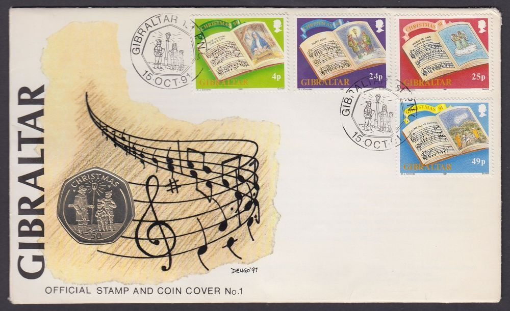 gibraltar 1991 50p coin in fdc cover christmas xmas stamps carol singers