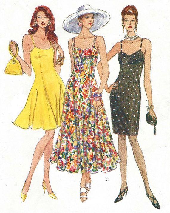 90s Vogue Sewing Pattern 8314 Womens Summer Dress Spaghetti Straps Flared Or Straight Skirt Size 12 Bust 34 Vogue Eas Kleding Naaipatronen Naaipatronen Kleding