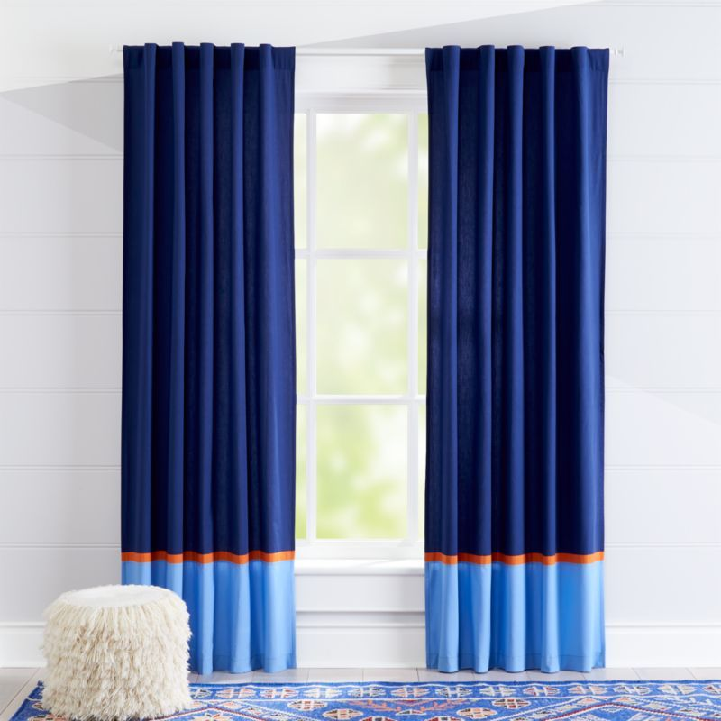 Shop Kids Curtains Kids Navy And Light Blue Curtains With Orange Trim Out Of This World Dark Blue Panels Fe Orange Curtains Light Blue Curtains Kids Curtains