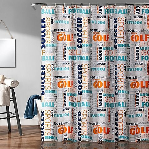 The Fun And Playful Sports Shower Curtain Features A Word Cloud Of