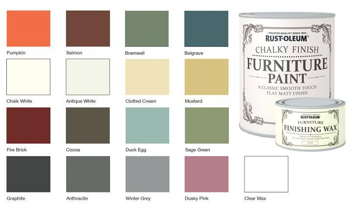 rust oleum chalk chalky colour chart remake furniture. Black Bedroom Furniture Sets. Home Design Ideas