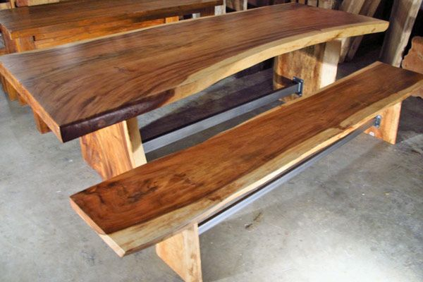 A Large Live Edge Monkeypod Wood Slab Dining Table With Custom Steel  Trestle Between The Natural