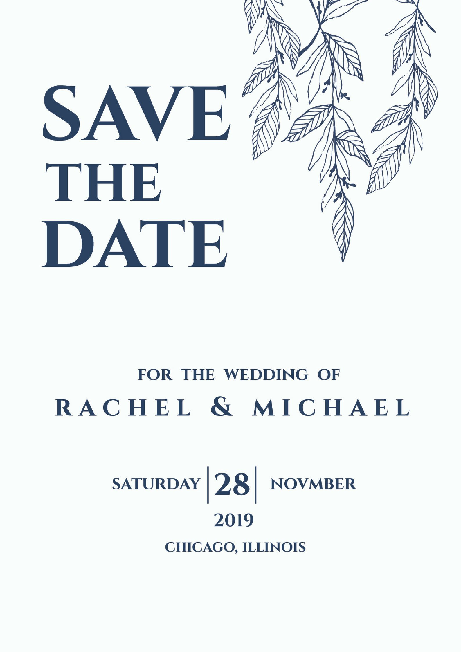 blue navy leaves save the date downloadable save the date save the