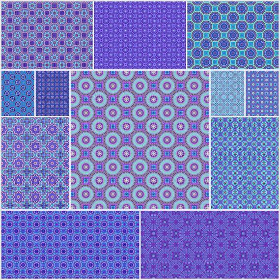 Purple and Blue Set of 12 Digital Scrapbooking Paper Sheets Circles