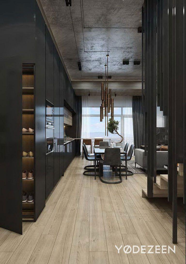 Black Cabinetry With Natural Wooden Floors Maison Familiale, Maison 2,  Appartement Design, Escaliers