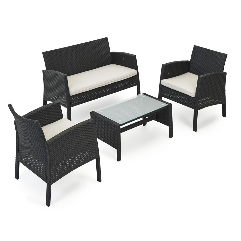Wilko Rattan Lounge Set Black  Outdoor furniture sets, Furniture
