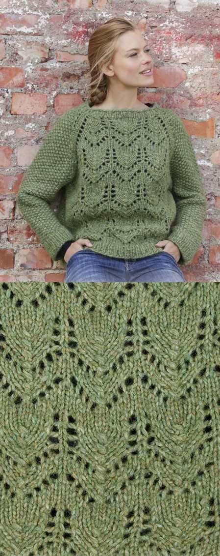 Free Knitting Pattern for Lace Raglan Jumper. Free sweater ...