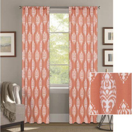 Better Homes And Gardens Traditional Damask Curtain Panel, Orange