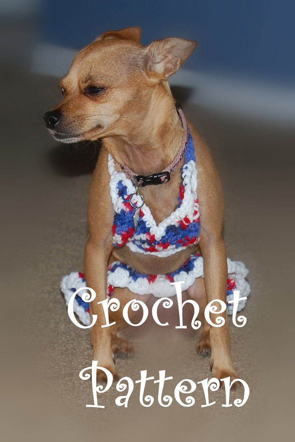 Instant Download Crochet Pattern Dog Bikini Top And Ruffle Skirt