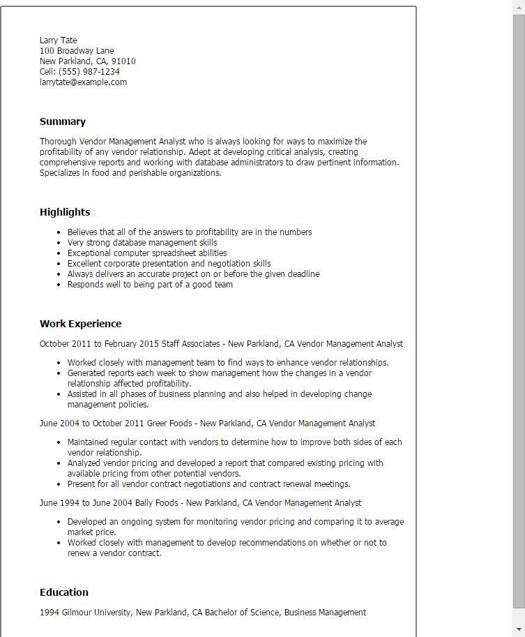 Resume Examples Vendor Management Resume Templates In 2020 Resume Examples Manager Resume Resume