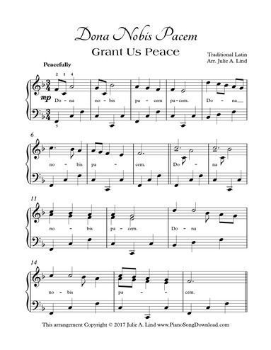 Dona Nobis Pacem Grant Us Peace, piano solo in cannon style for