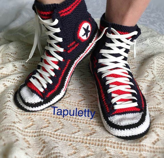 153e0520e7273b Crochet Converse slippers Knitted Converse Knitted gift for boyfriend Men s  house slippers Socks wit