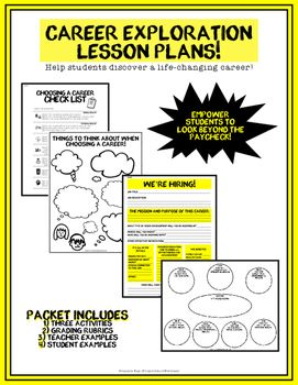 Career Exploration  Health Or Advisory Lesson Plans Bundle W Six