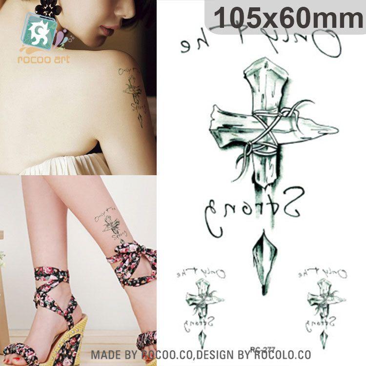 263fc34d2 2pcs/lots 2pcs Limited Men The New Waterproof Tattoo Custom English Flower  Pattern Cross Arm