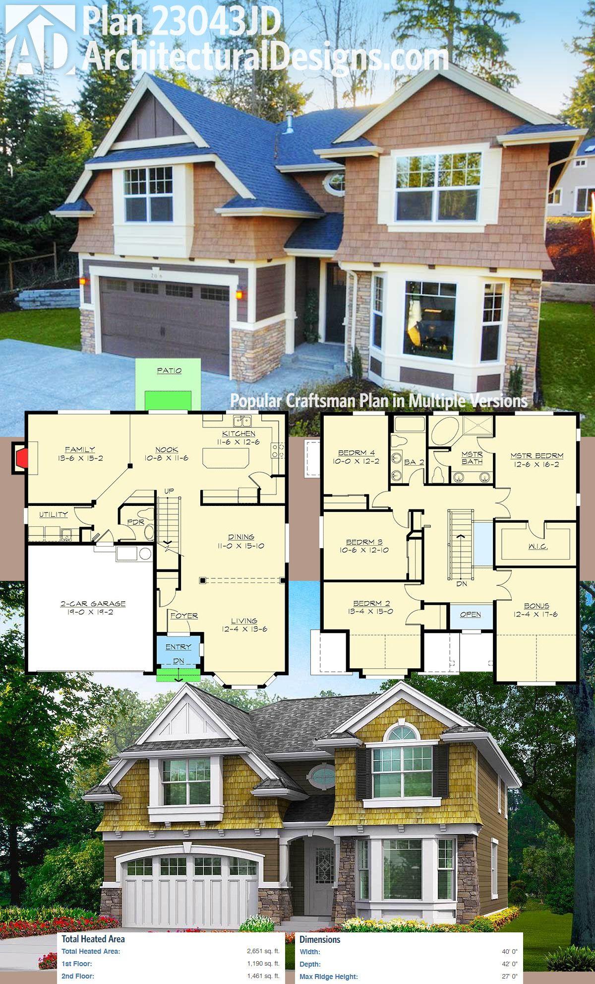 Plan 23043JD: Popular Craftsman Plan in Multiple Versions ...