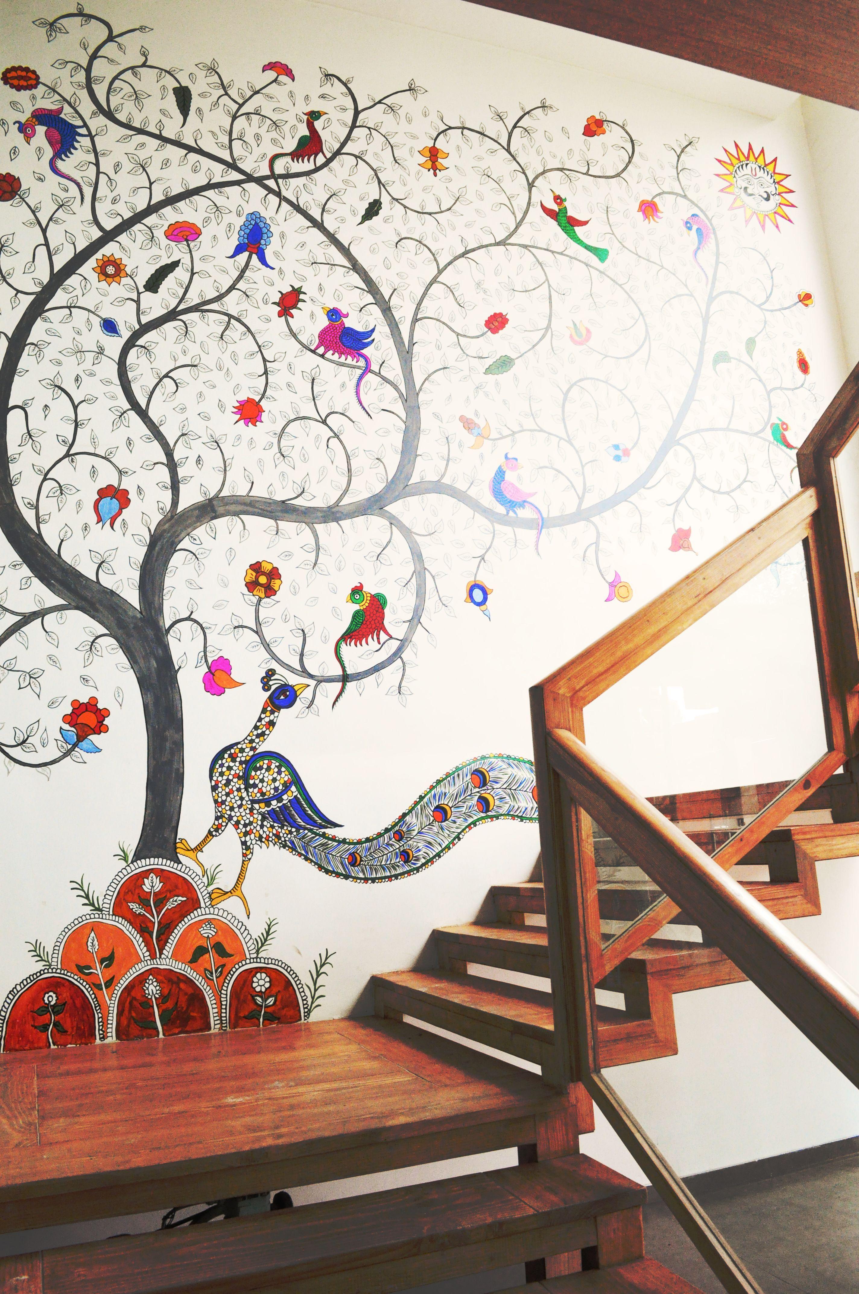 Kalamkari Wall Installation At Armieda Spa Ahmedabad