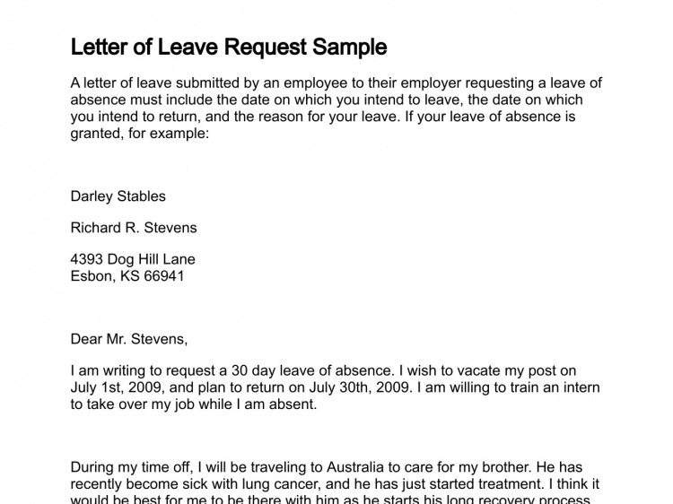 Letter Of Leave Request Sample Lettering Letter To Boss Time Off Request Form