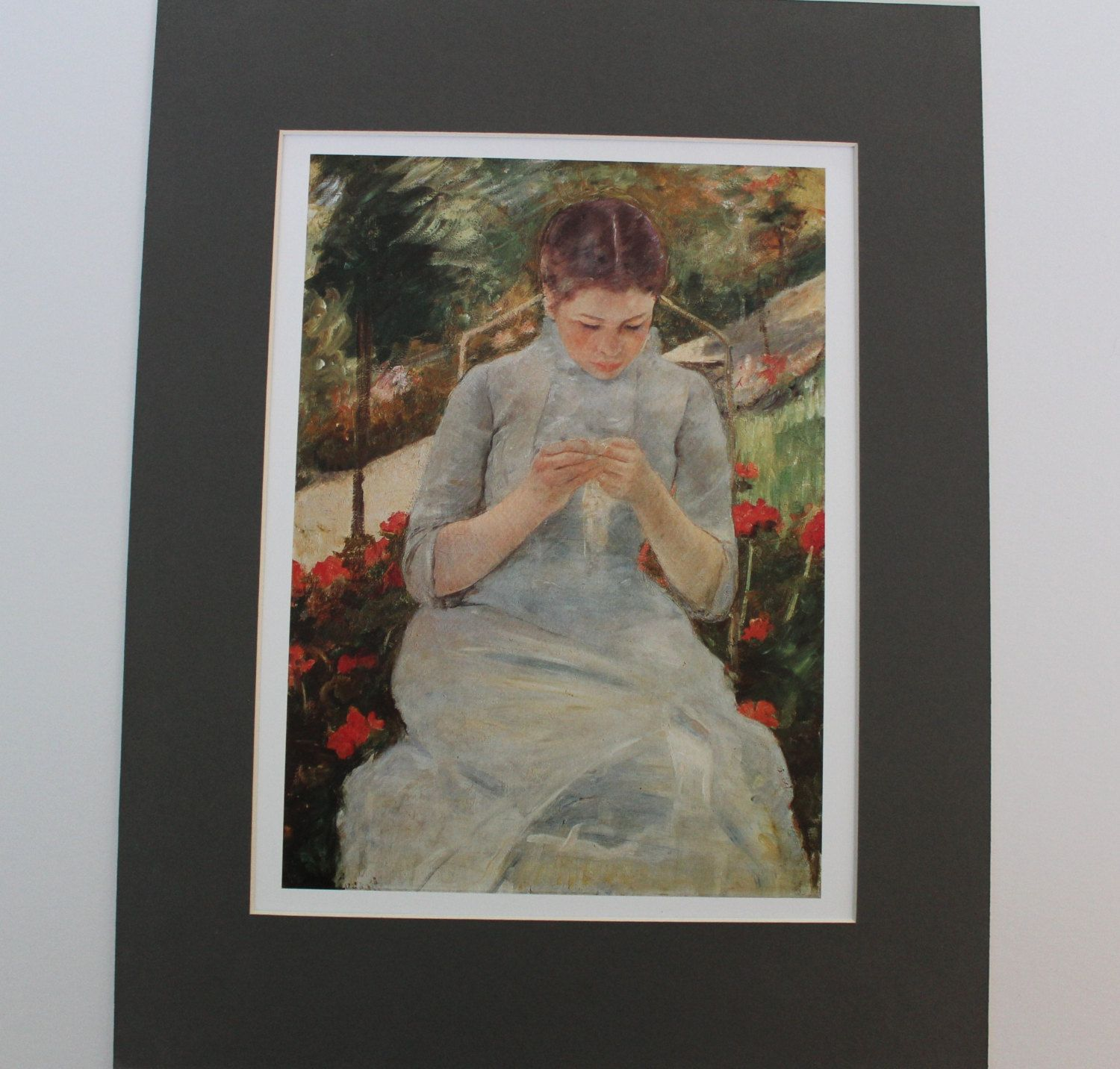Women sewing fine art print by mary cassatt mounted print painting impressionist impressionism american usa