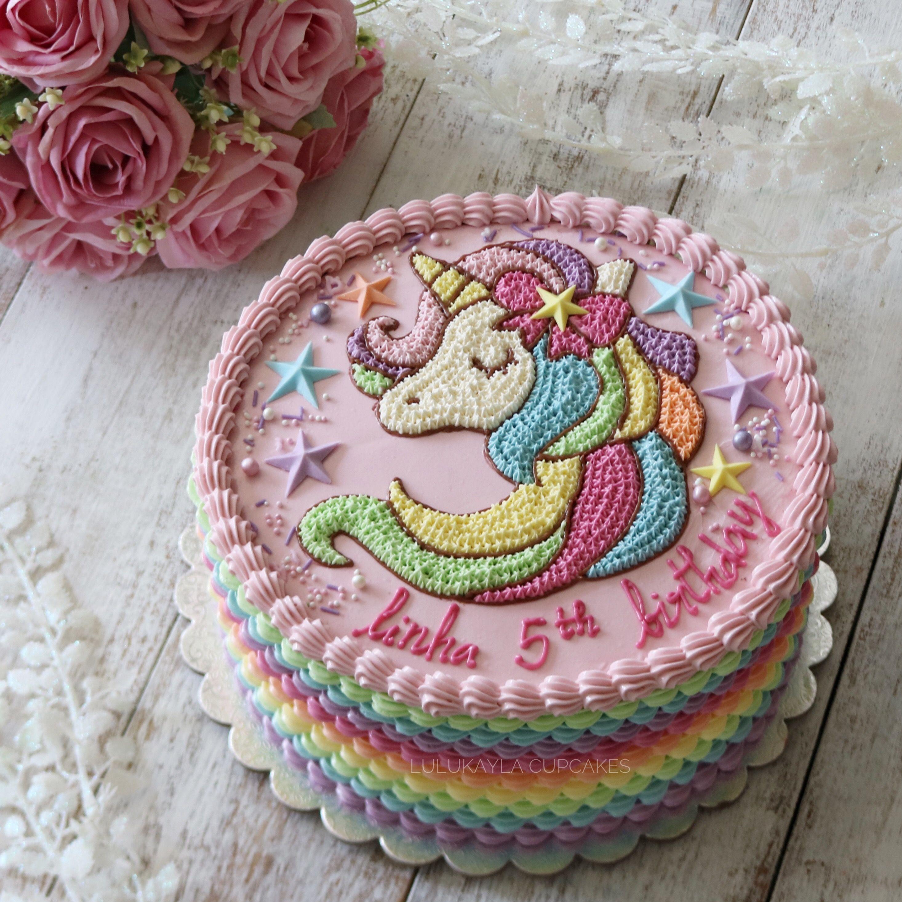 Unicorn Buttercream Cake Kue Tart Desain Kue Kue