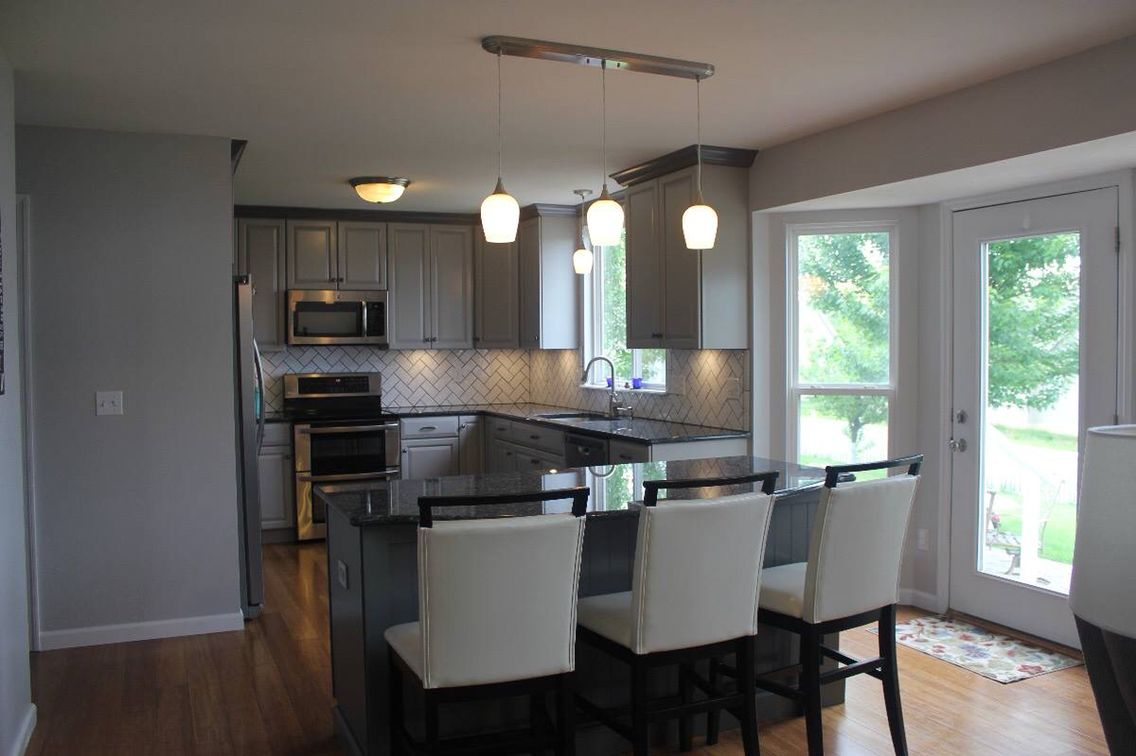 Best Gray Kitchen Cabinets And Blue Pearl Granite Kitchen 400 x 300