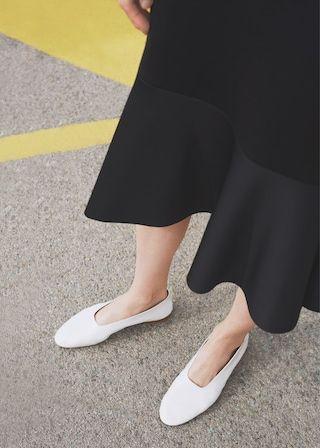 Soft leather ballerina | MANGO | Shoes