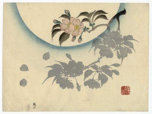 'Cherry Blossoms in Moonlight' ( Edo period ). Woodblock print by Ichikawa Kiyû…