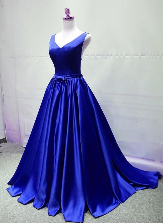Royal Blue Elegant Party Gown Handmade Satin Prom Dress 2019 Satin Prom Dress Winter Ball Dresses Prom Dresses