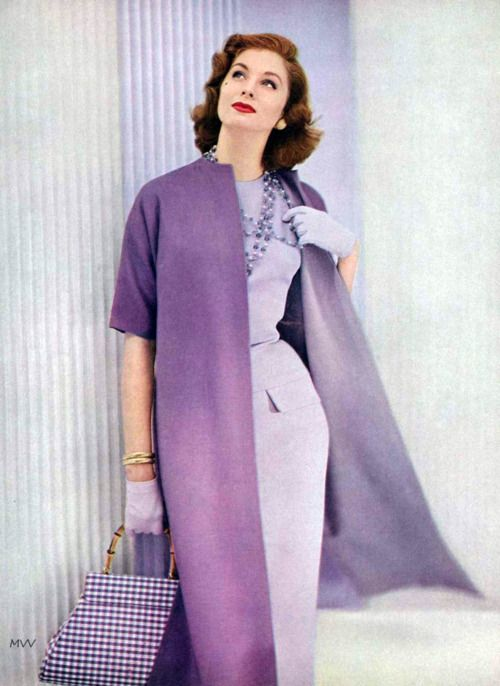 Suzy Parker 50s color purple photo print ad model magazine dress coat lavender gloves bag