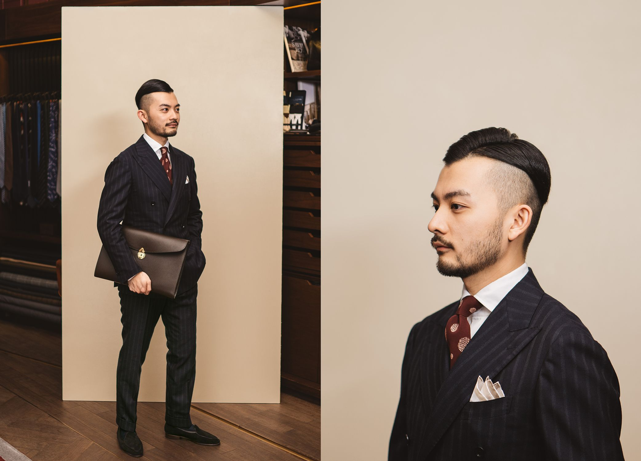 Shop Look 1 Shop Look 1 Shop Look 2 Shop Look 2 Shop Look 3 Orazio Luciano MTM Pinstripe Suit | Saint Crispin's MTO 522C Shop Look 3 Orazio Luciano MTM Pinstrip